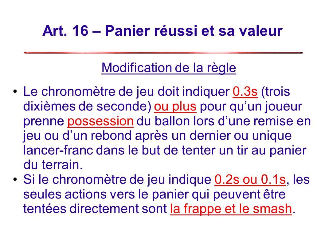 Art. 16 – Panier réussi et sa valeur Modification de la règle Le chronomètre de jeu doit indiquer 0.3s (trois dixièmes de seconde) ou plus pour quun j