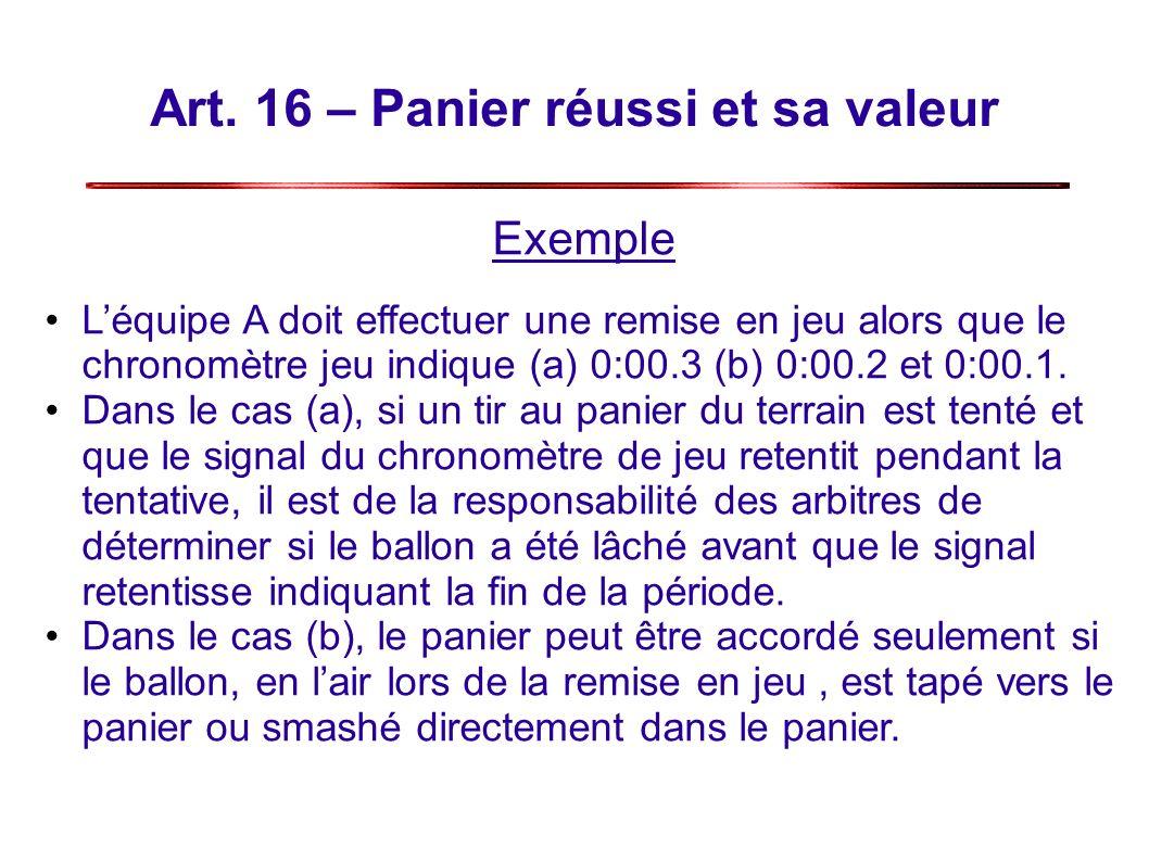 Art. 16 – Panier réussi et sa valeur Exemple Léquipe A doit effectuer une remise en jeu alors que le chronomètre jeu indique (a) 0:00.3 (b) 0:00.2 et