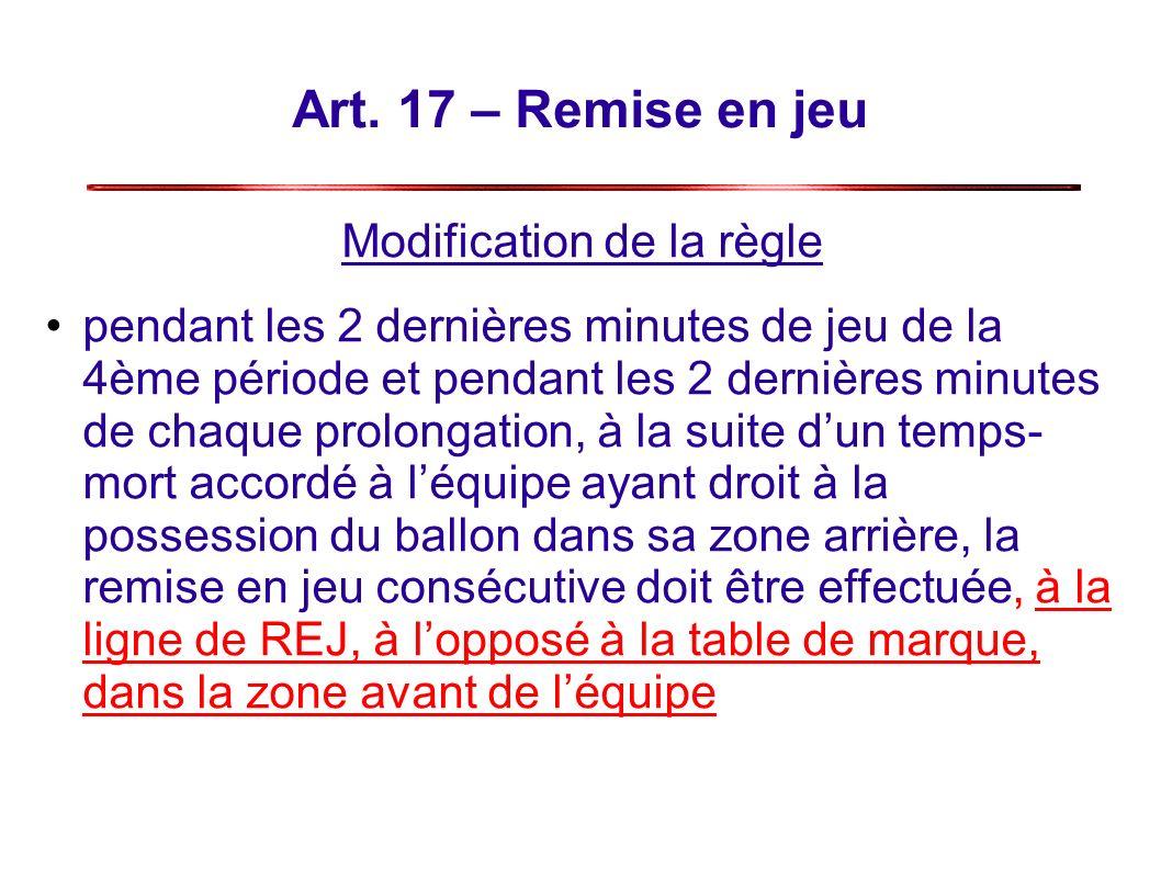 Art. 17 – Remise en jeu Modification de la règle pendant les 2 dernières minutes de jeu de la 4ème période et pendant les 2 dernières minutes de chaqu