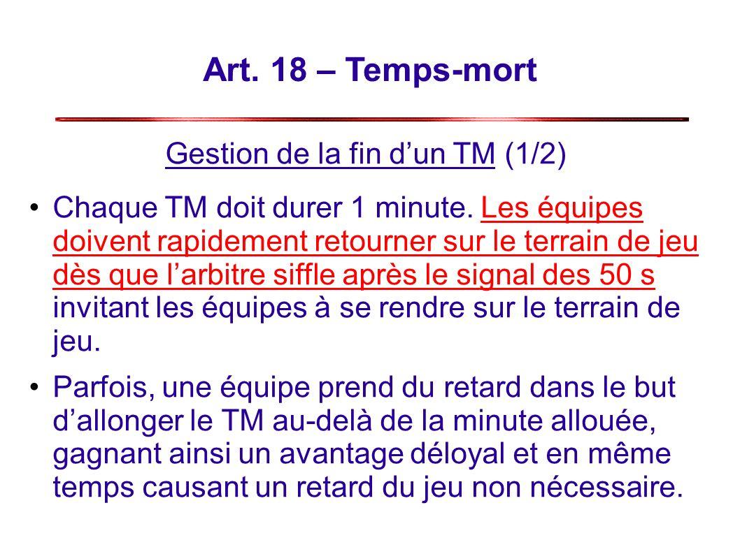 Art.18 – Temps-mort Gestion de la fin dun TM (1/2) Chaque TM doit durer 1 minute.