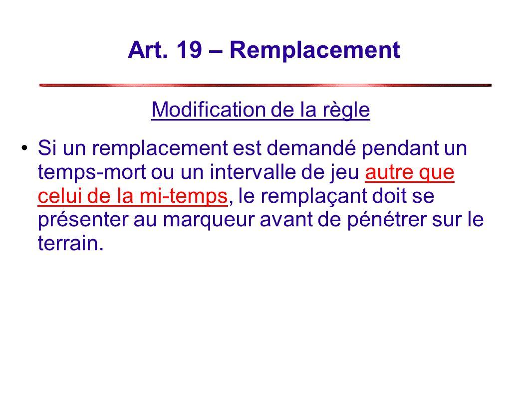 Art. 19 – Remplacement Modification de la règle Si un remplacement est demandé pendant un temps-mort ou un intervalle de jeu autre que celui de la mi-