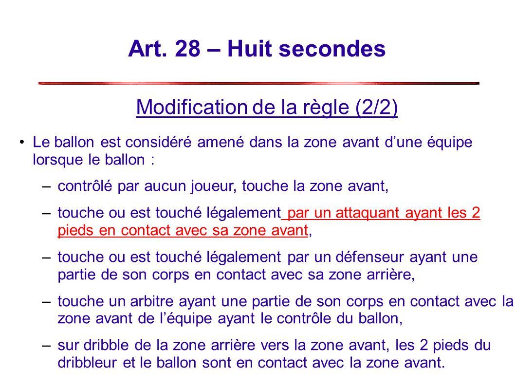 Art. 28 – Huit secondes Modification de la règle (2/2) Le ballon est considéré amené dans la zone avant dune équipe lorsque le ballon : –contrôlé par