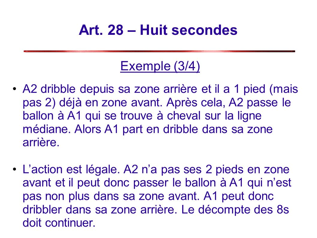 Art. 28 – Huit secondes Exemple (3/4) A2 dribble depuis sa zone arrière et il a 1 pied (mais pas 2) déjà en zone avant. Après cela, A2 passe le ballon