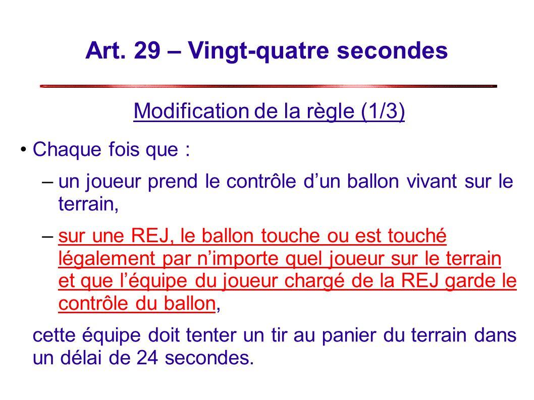 Art. 29 – Vingt-quatre secondes Modification de la règle (1/3) Chaque fois que : –un joueur prend le contrôle dun ballon vivant sur le terrain, –sur u