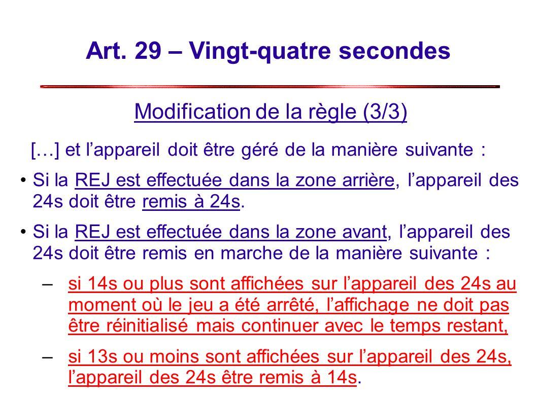 Art. 29 – Vingt-quatre secondes Modification de la règle (3/3) […] et lappareil doit être géré de la manière suivante : Si la REJ est effectuée dans l