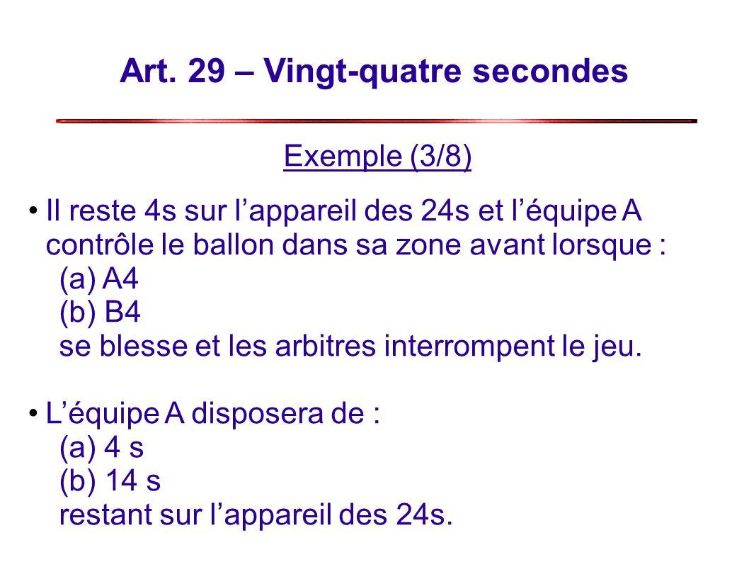 Art. 29 – Vingt-quatre secondes Exemple (3/8) Il reste 4s sur lappareil des 24s et léquipe A contrôle le ballon dans sa zone avant lorsque : (a) A4 (b