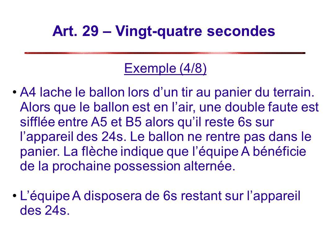 Art.29 – Vingt-quatre secondes Exemple (4/8) A4 lache le ballon lors dun tir au panier du terrain.
