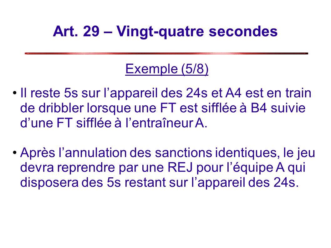 Art. 29 – Vingt-quatre secondes Exemple (5/8) Il reste 5s sur lappareil des 24s et A4 est en train de dribbler lorsque une FT est sifflée à B4 suivie