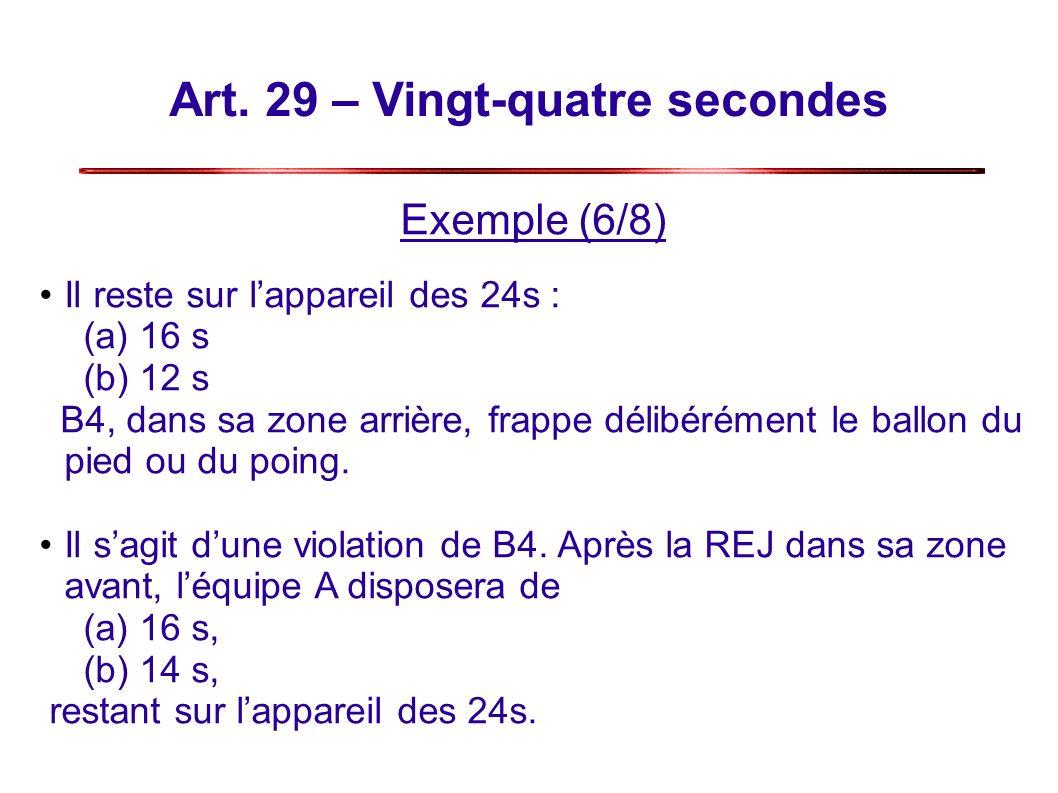 Art. 29 – Vingt-quatre secondes Exemple (6/8) Il reste sur lappareil des 24s : (a) 16 s (b) 12 s B4, dans sa zone arrière, frappe délibérément le ball