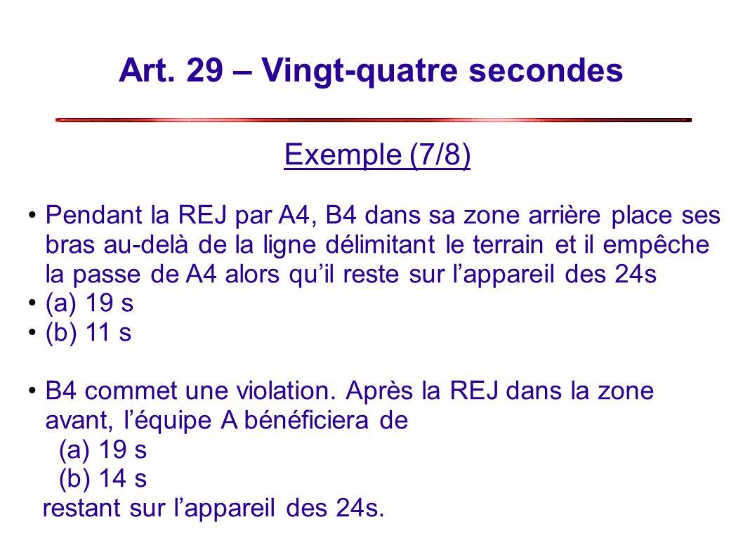 Art. 29 – Vingt-quatre secondes Exemple (7/8) Pendant la REJ par A4, B4 dans sa zone arrière place ses bras au-delà de la ligne délimitant le terrain