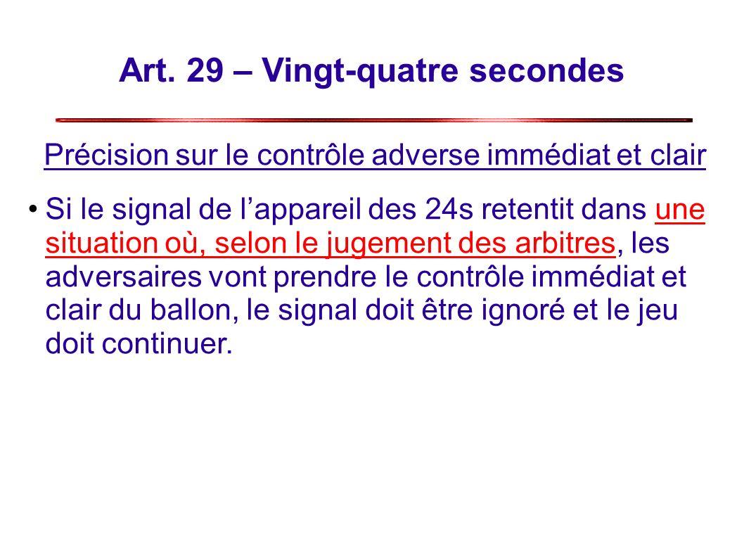 Art. 29 – Vingt-quatre secondes Précision sur le contrôle adverse immédiat et clair Si le signal de lappareil des 24s retentit dans une situation où,