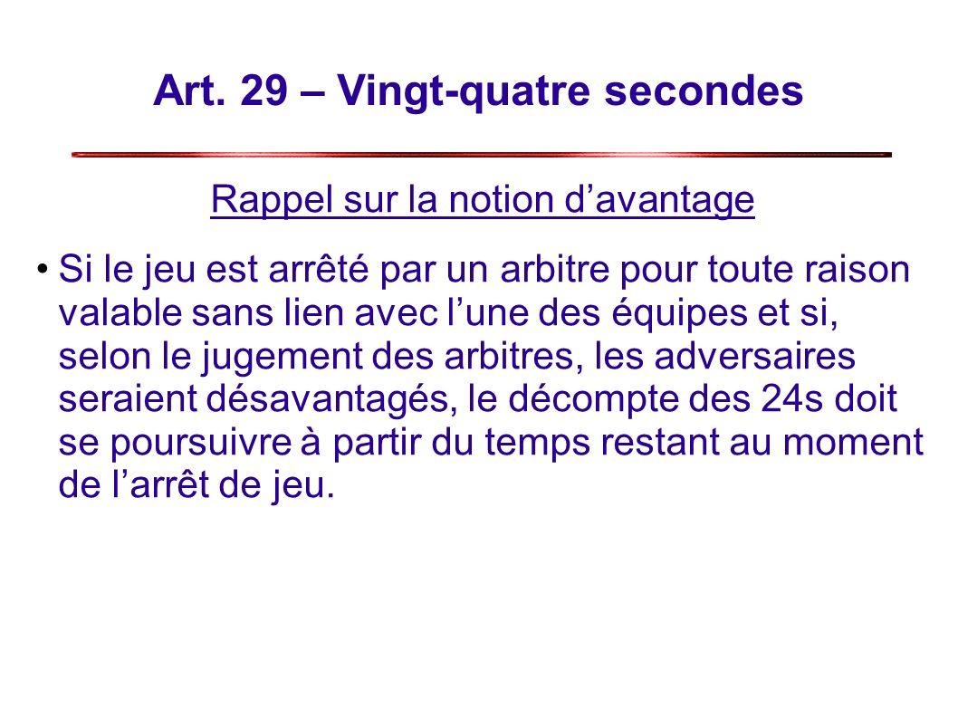 Art. 29 – Vingt-quatre secondes Rappel sur la notion davantage Si le jeu est arrêté par un arbitre pour toute raison valable sans lien avec lune des é