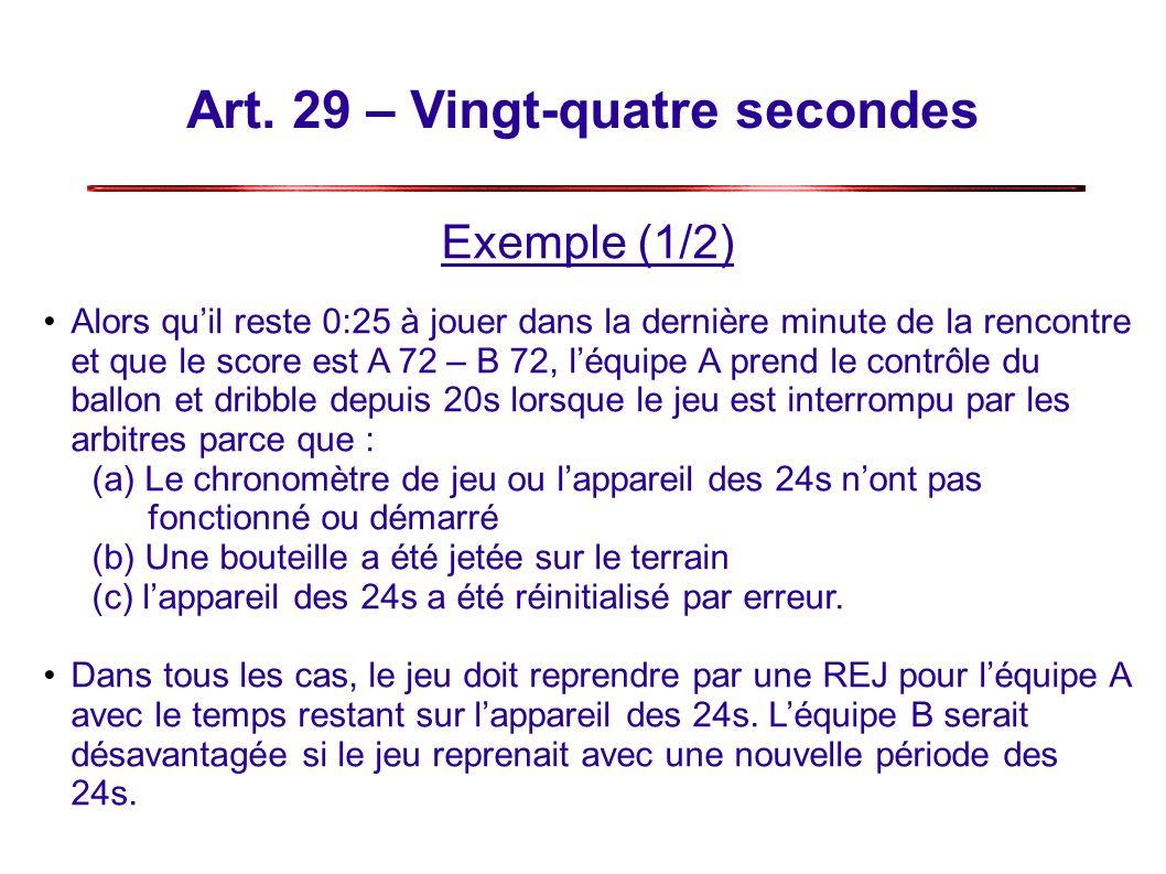 Art. 29 – Vingt-quatre secondes Exemple (1/2) Alors quil reste 0:25 à jouer dans la dernière minute de la rencontre et que le score est A 72 – B 72, l