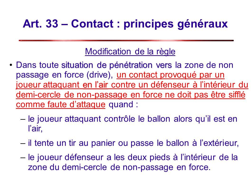 Art. 33 – Contact : principes généraux Modification de la règle situation de pénétration vers en lairDans toute situation de pénétration vers la zone
