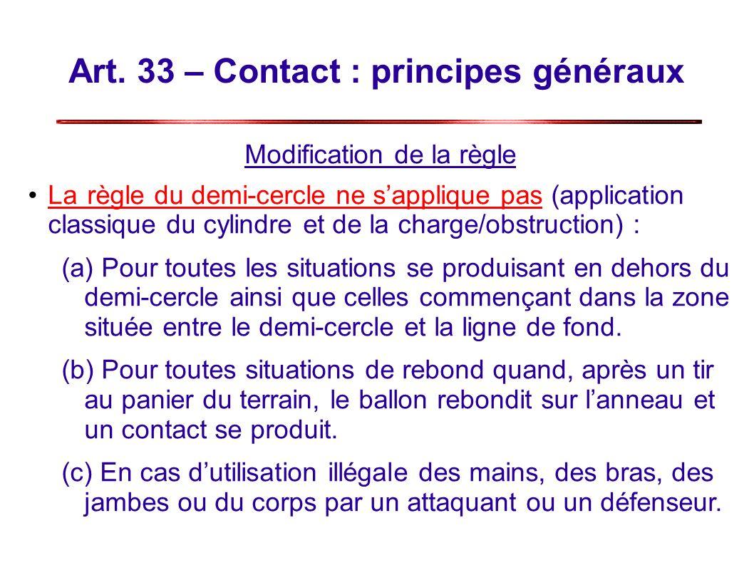 Art. 33 – Contact : principes généraux Modification de la règle Larègle du demi-cercle ne sapplique pas (application classique du cylindre et de la ch