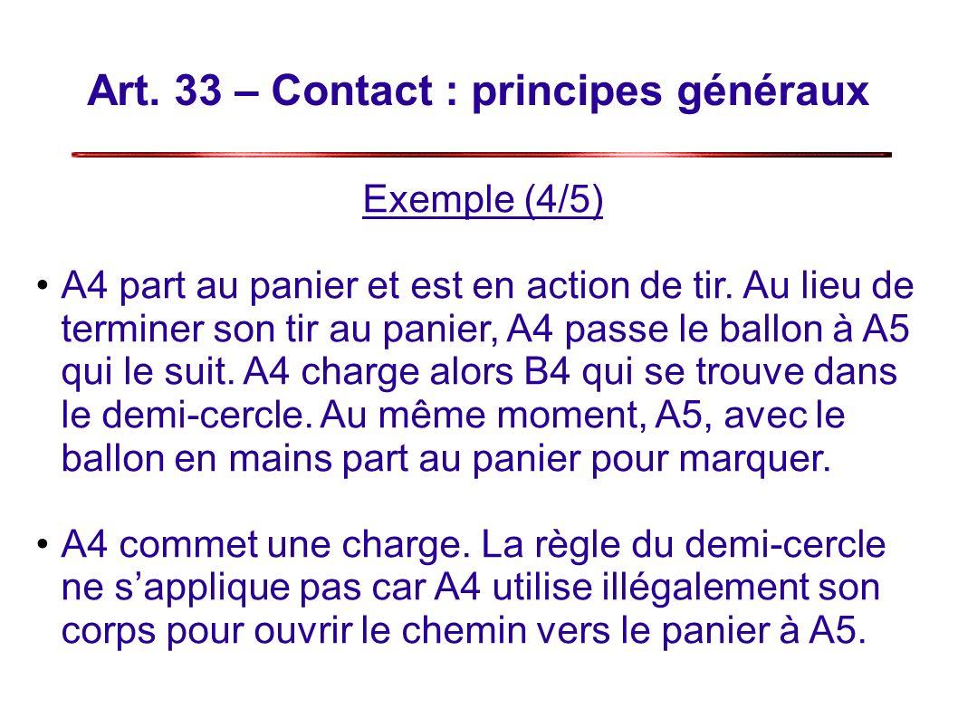 Art.33 – Contact : principes généraux Exemple (4/5) A4 part au panier et est en action de tir.