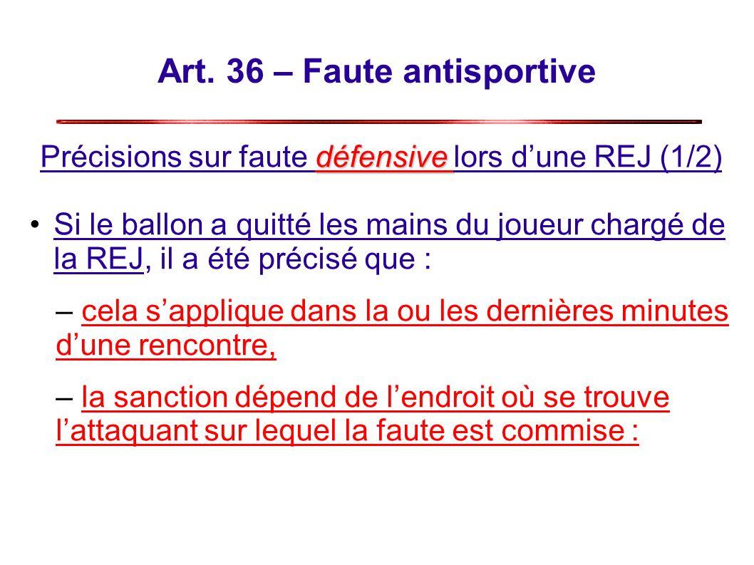 Art. 36 – Faute antisportive défensive Précisions sur faute défensive lors dune REJ (1/2) Si le ballon a quitté les mains du joueur chargé de la REJ,