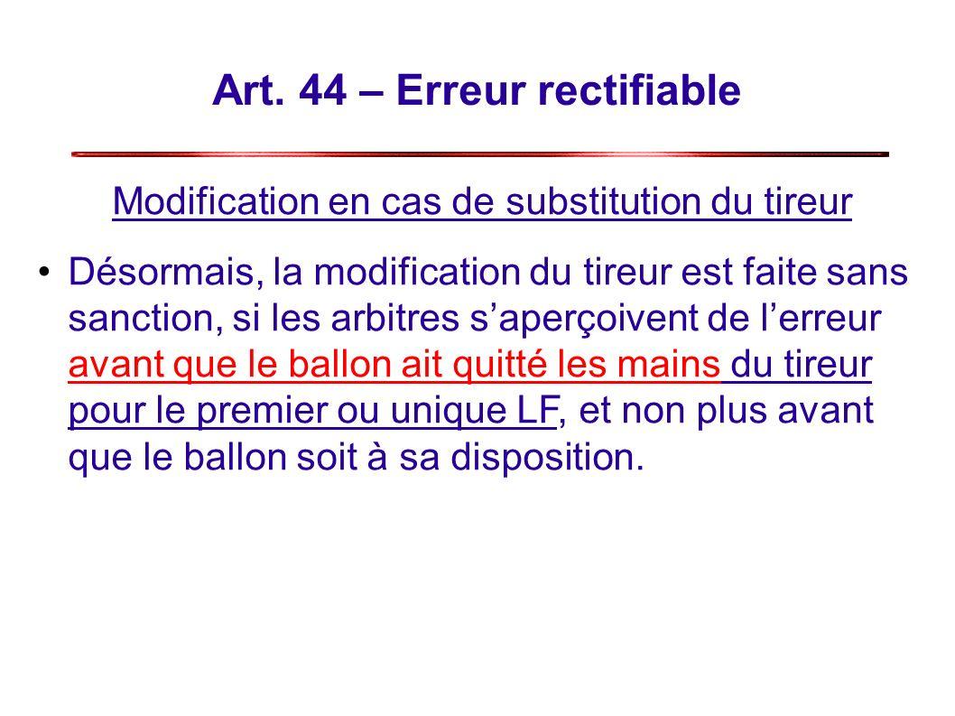 Art. 44 – Erreur rectifiable Modification en cas de substitution du tireur Désormais, la modification du tireur est faite sans sanction, si les arbitr
