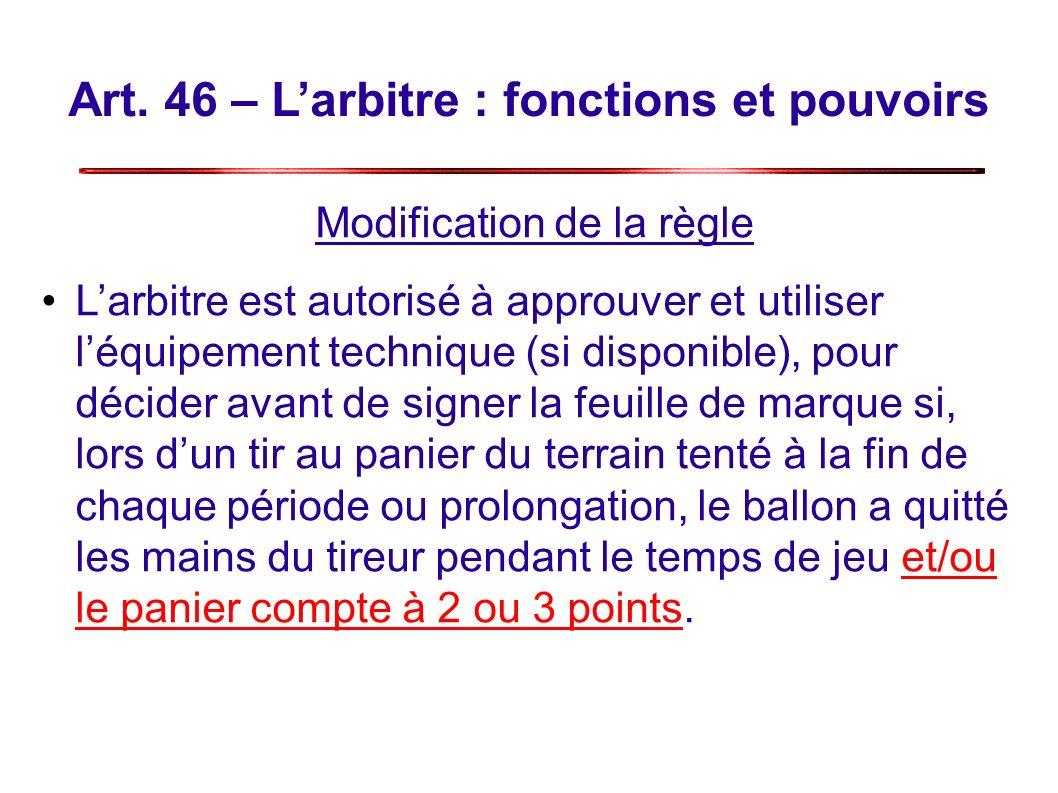 Art. 46 – Larbitre : fonctions et pouvoirs Modification de la règle Larbitre est autorisé à approuver et utiliser léquipement technique (si disponible