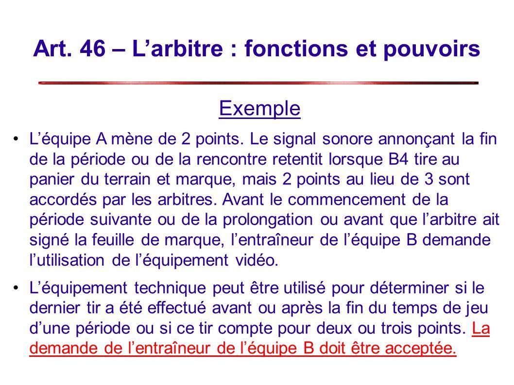 Art.46 – Larbitre : fonctions et pouvoirs Exemple Léquipe A mène de 2 points.