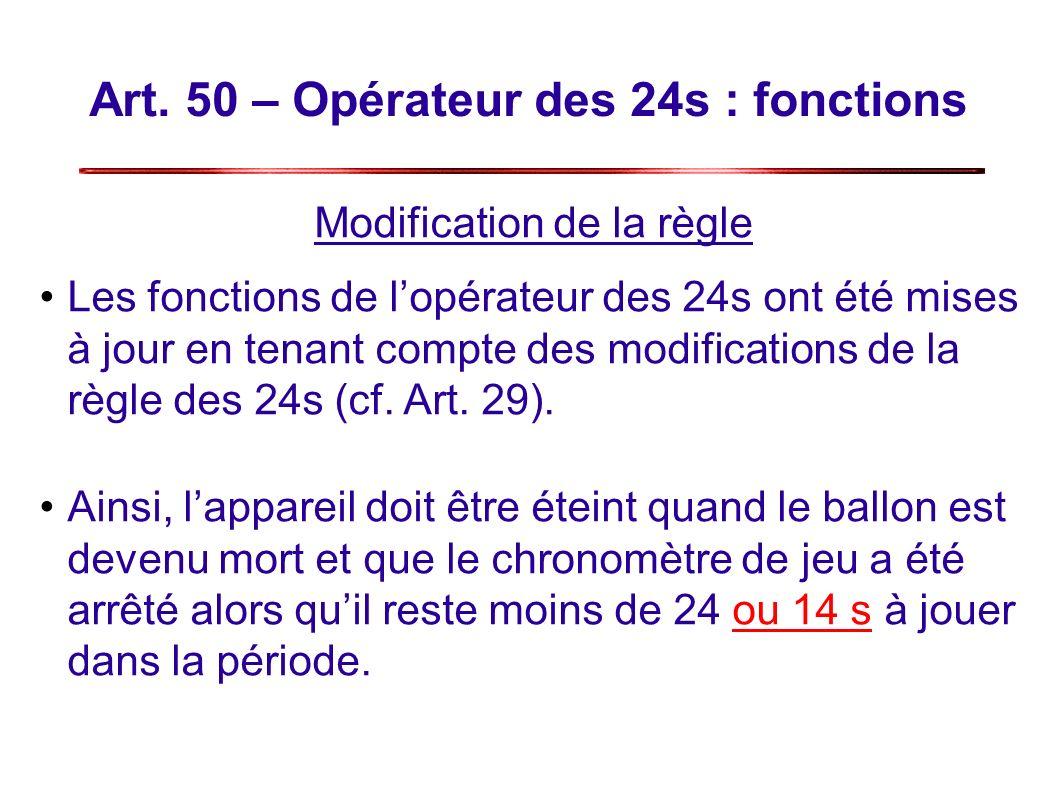 Art. 50 – Opérateur des 24s : fonctions Modification de la règle Les fonctions de lopérateur des 24s ont été mises à jour en tenant compte des modific