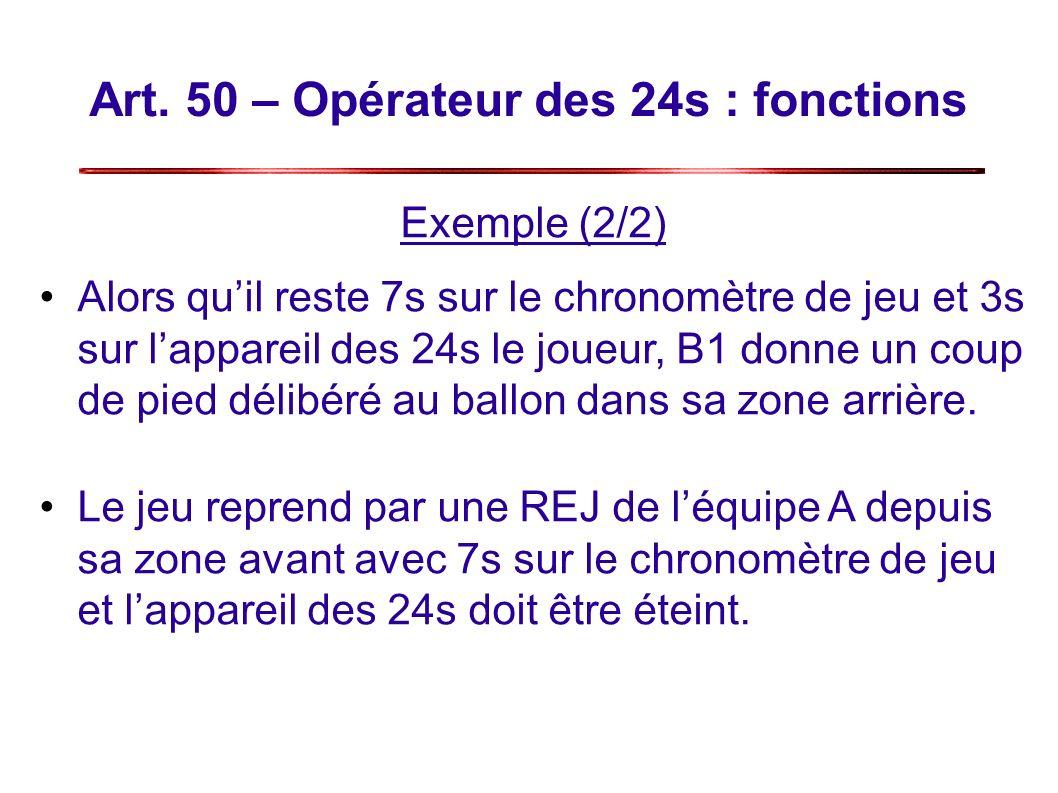 Art. 50 – Opérateur des 24s : fonctions Exemple (2/2) Alors quil reste 7s sur le chronomètre de jeu et 3s sur lappareil des 24s le joueur, B1 donne un