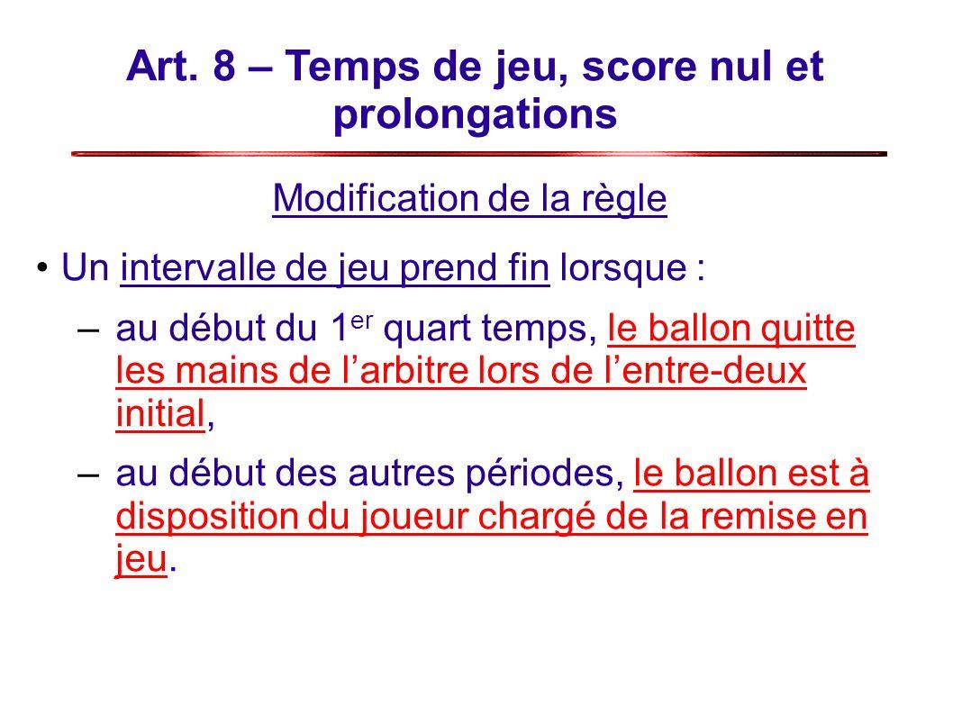 Art. 8 – Temps de jeu, score nul et prolongations Modification de la règle Un intervalle de jeu prend fin lorsque : –au début du 1 er quart temps, le