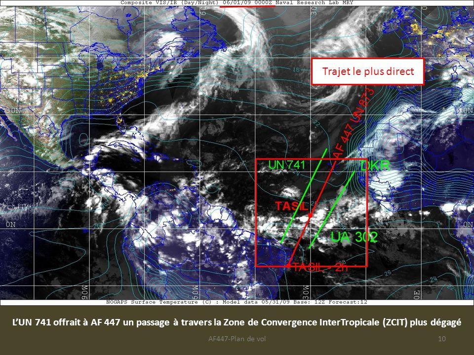 AF447-Plan de vol10 LUN 741 offrait à AF 447 un passage à travers la Zone de Convergence InterTropicale (ZCIT) plus dégagé Trajet le plus direct