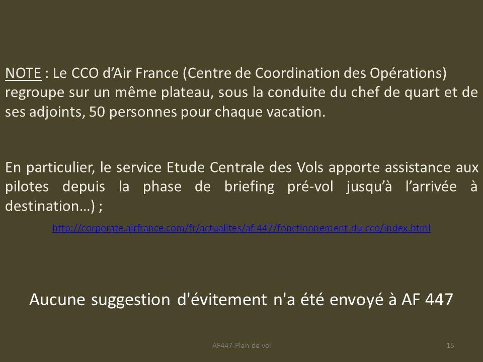 AF447-Plan de vol15 NOTE : Le CCO dAir France (Centre de Coordination des Opérations) regroupe sur un même plateau, sous la conduite du chef de quart