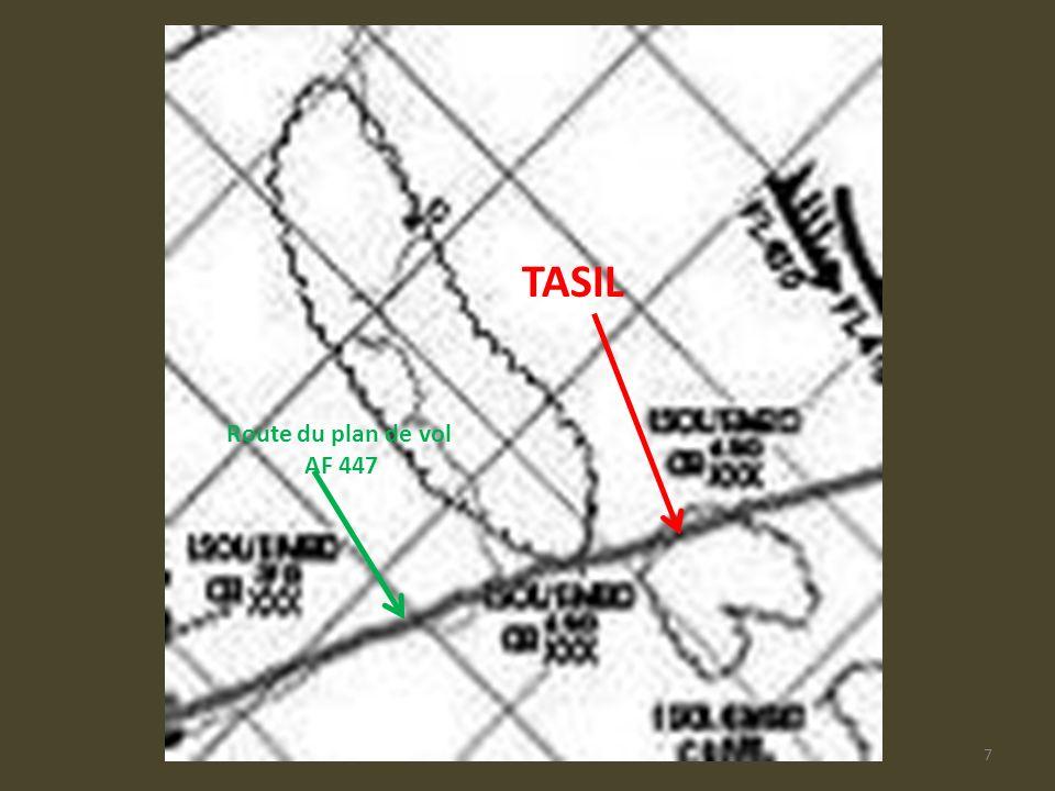 AF447-Plan de vol7 TASIL Route du plan de vol AF 447
