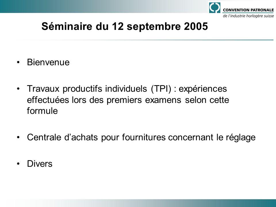 Séminaire du 12 septembre 2005 Bienvenue Travaux productifs individuels (TPI) : expériences effectuées lors des premiers examens selon cette formule C