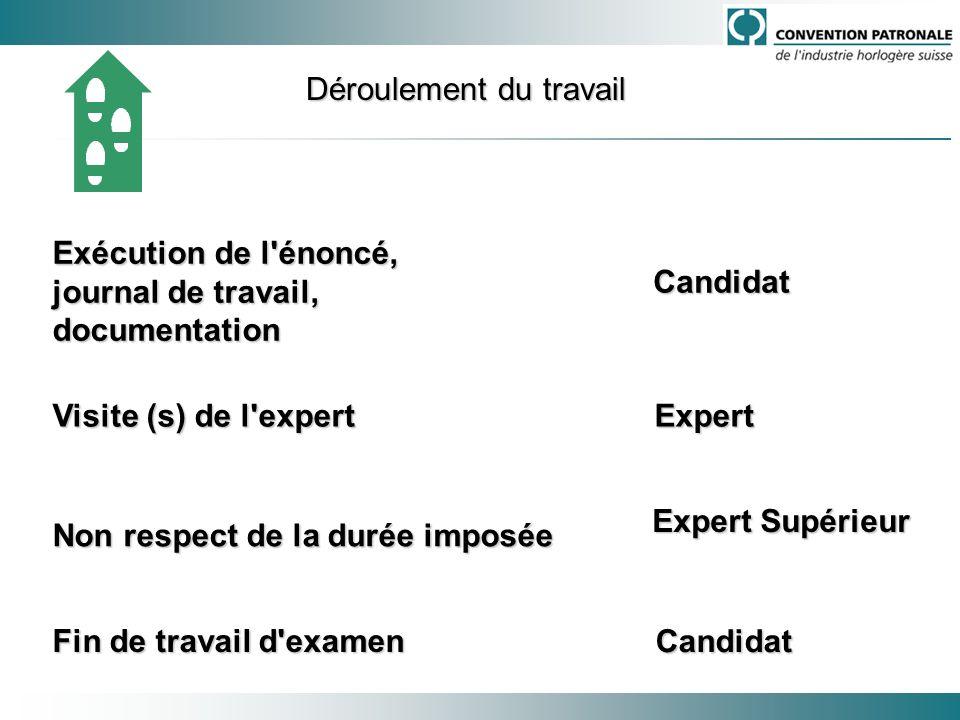 Exécution de l'énoncé, journal de travail, documentation Candidat Fin de travail d'examen Candidat Visite (s) de l'expert Expert Visite (s) de l'exper