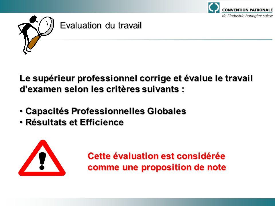 Evaluation du travail Le supérieur professionnel corrige et évalue le travail dexamen selon les critères suivants : Capacités Professionnelles Globale