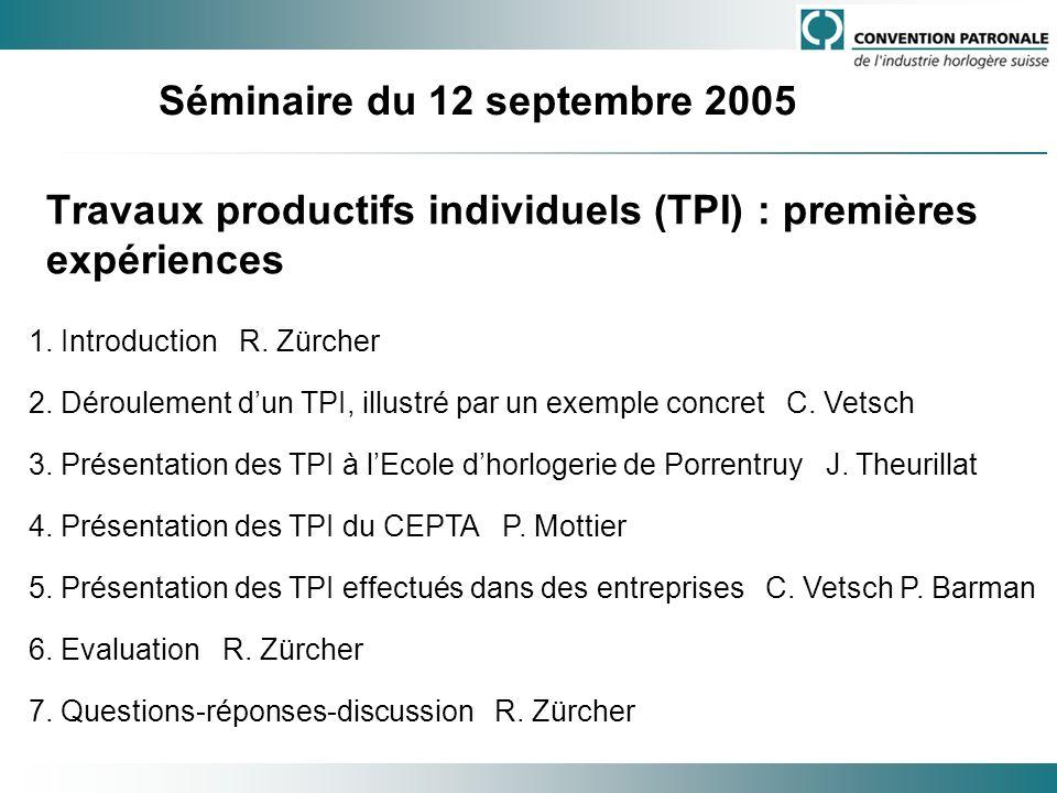 Travaux productifs individuels (TPI) : premières expériences 1. Introduction R. Zürcher 2. Déroulement dun TPI, illustré par un exemple concret C. Vet