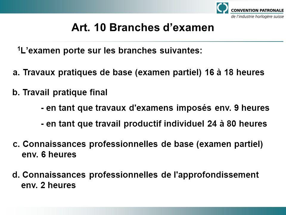 Art. 10 Branches dexamen 1 Lexamen porte sur les branches suivantes: a. Travaux pratiques de base (examen partiel) 16 à 18 heures b. Travail pratique