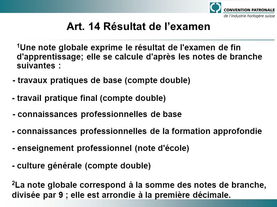 Art. 14 Résultat de lexamen 1 Une note globale exprime le résultat de l'examen de fin d'apprentissage; elle se calcule d'après les notes de branche su
