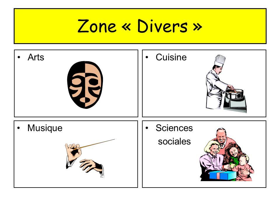 Zone « Divers » ArtsCuisine MusiqueSciences sociales