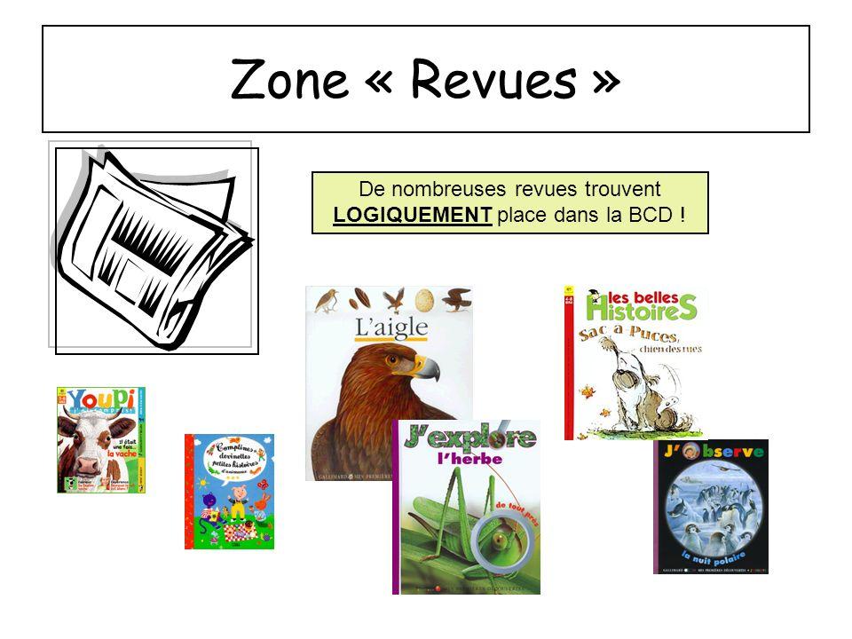 Zone « Revues » De nombreuses revues trouvent LOGIQUEMENT place dans la BCD !