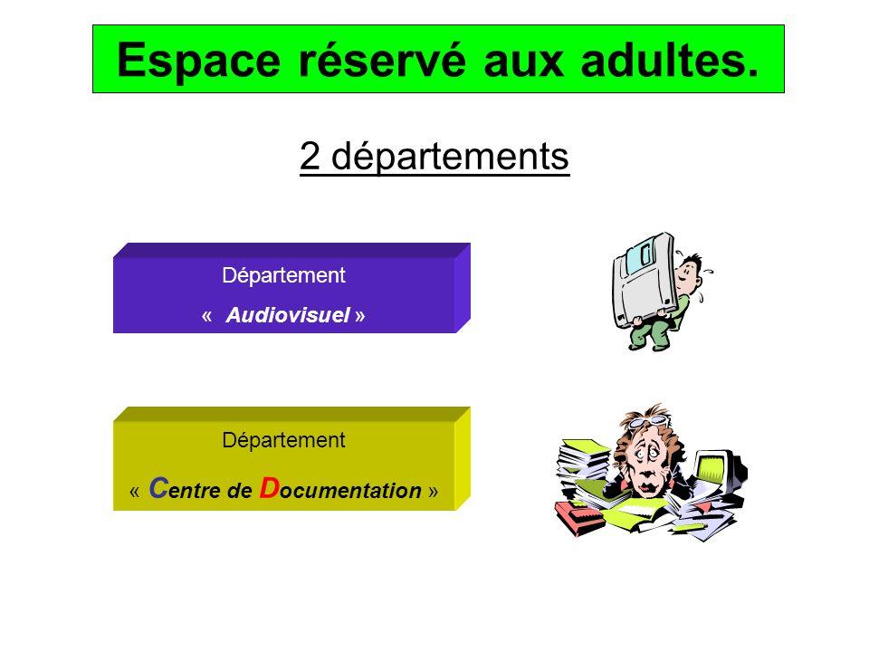 2 départements Département « Audiovisuel » Département « C entre de D ocumentation » Espace réservé aux adultes.