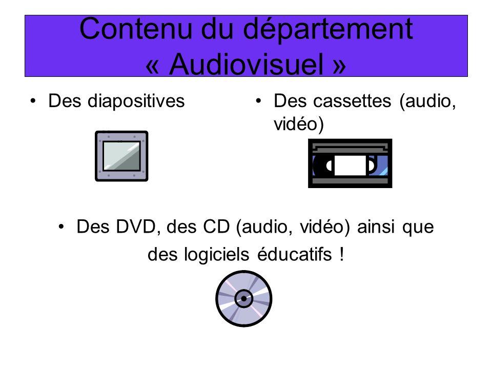 Des DVD, des CD (audio, vidéo) ainsi que des logiciels éducatifs ! Contenu du département « Audiovisuel » Des diapositivesDes cassettes (audio, vidéo)