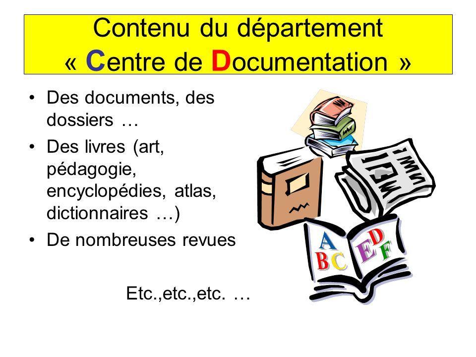 Contenu du département « C entre de D ocumentation » Des documents, des dossiers … Des livres (art, pédagogie, encyclopédies, atlas, dictionnaires …)