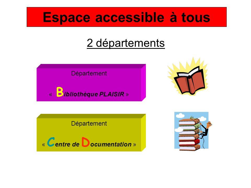 2 départements Département « B ibliothèque PLAISIR » Département « C entre de D ocumentation » Espace accessible à tous