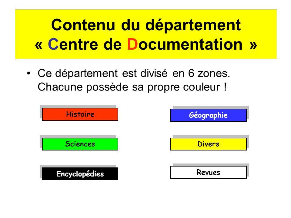 Contenu du département « Centre de Documentation » Ce département est divisé en 6 zones. Chacune possède sa propre couleur ! Histoire Géographie Scien