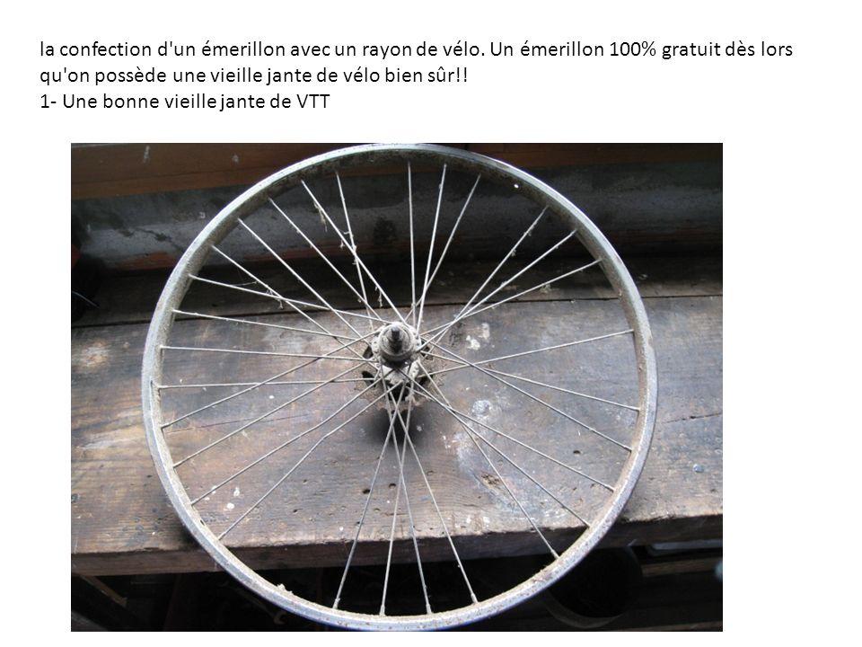 la confection d'un émerillon avec un rayon de vélo. Un émerillon 100% gratuit dès lors qu'on possède une vieille jante de vélo bien sûr!! 1- Une bonne