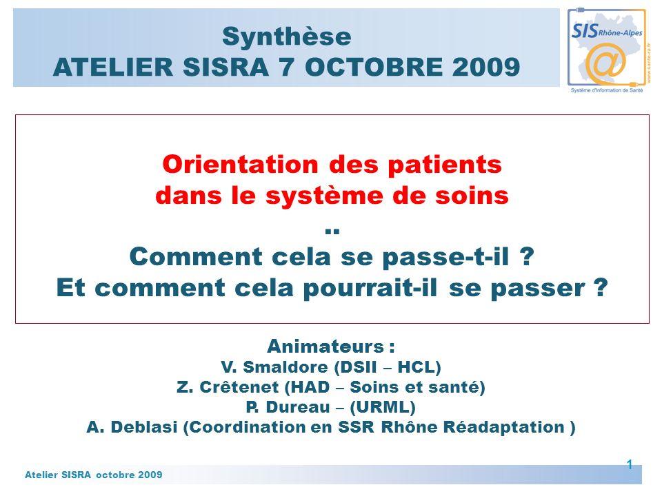 Atelier SISRA octobre 2009 1 Animateurs : V.Smaldore (DSII – HCL) Z.