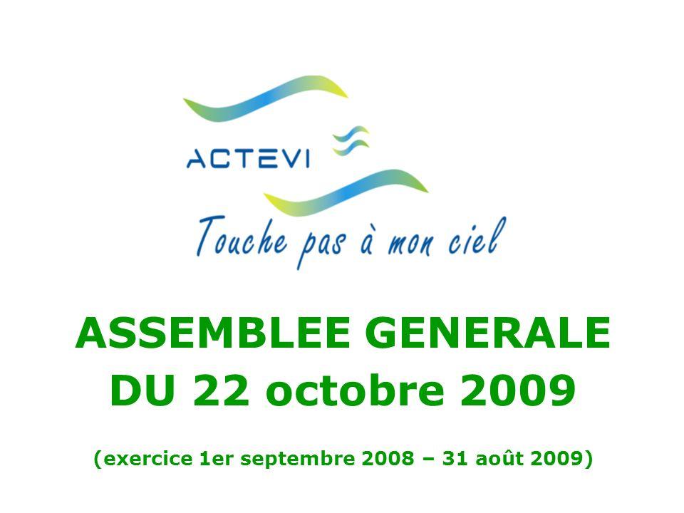 ASSEMBLEE GENERALE DU 22 octobre 2009 (exercice 1er septembre 2008 – 31 août 2009)