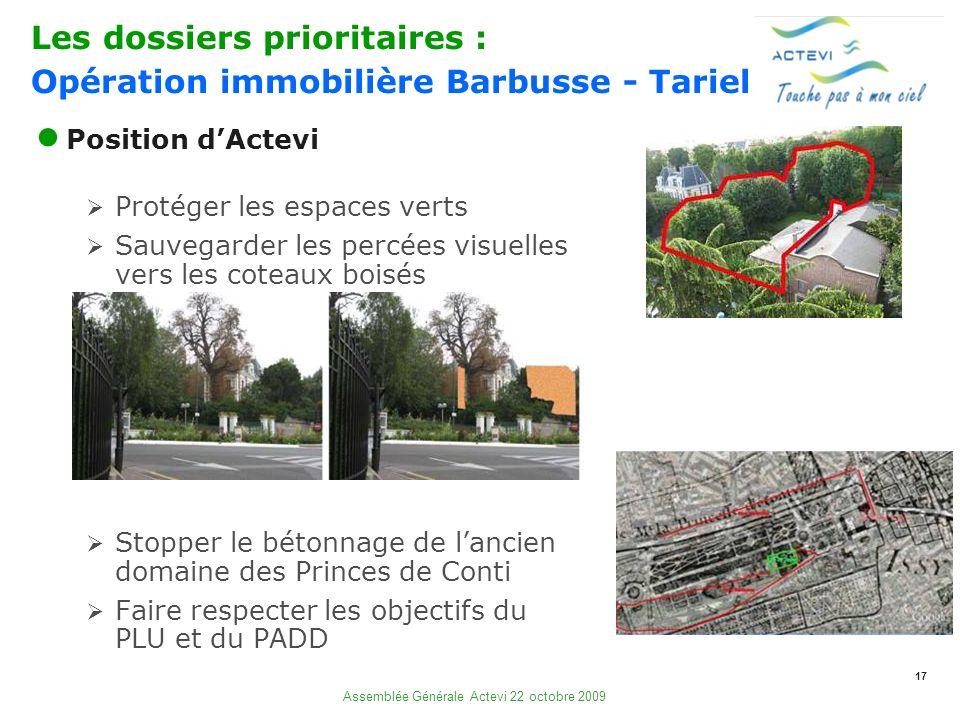 17 Assemblée Générale Actevi 22 octobre 2009 Position dActevi Protéger les espaces verts Sauvegarder les percées visuelles vers les coteaux boisés Sto