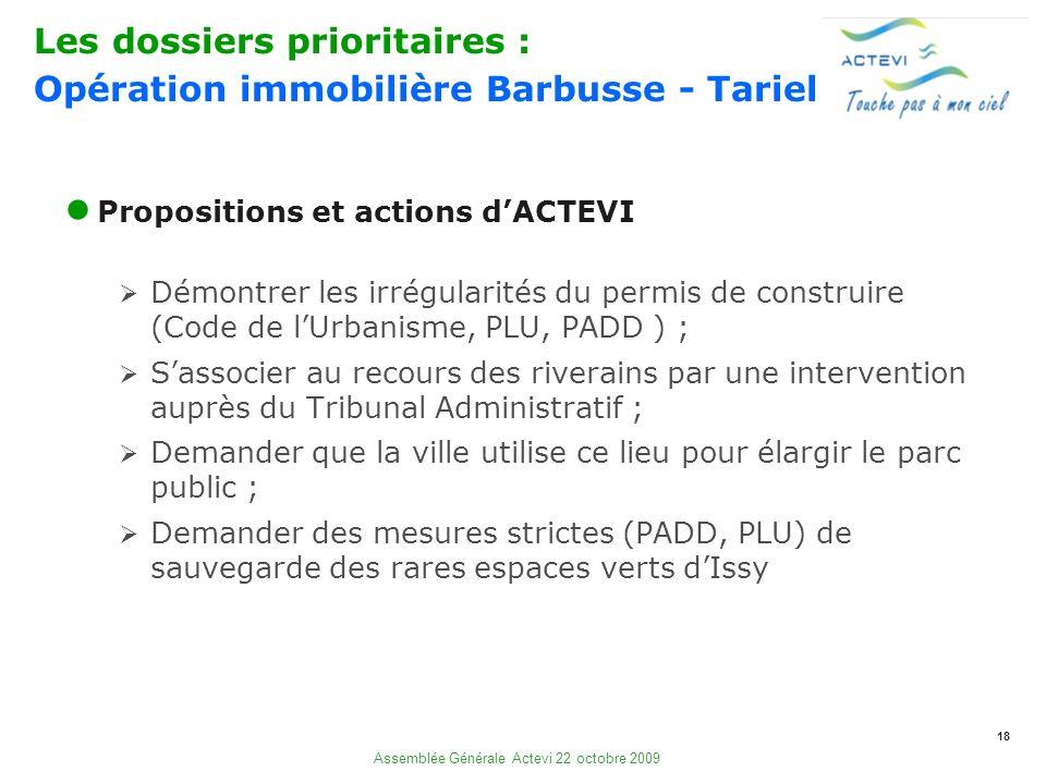 18 Assemblée Générale Actevi 22 octobre 2009 Propositions et actions dACTEVI Démontrer les irrégularités du permis de construire (Code de lUrbanisme,
