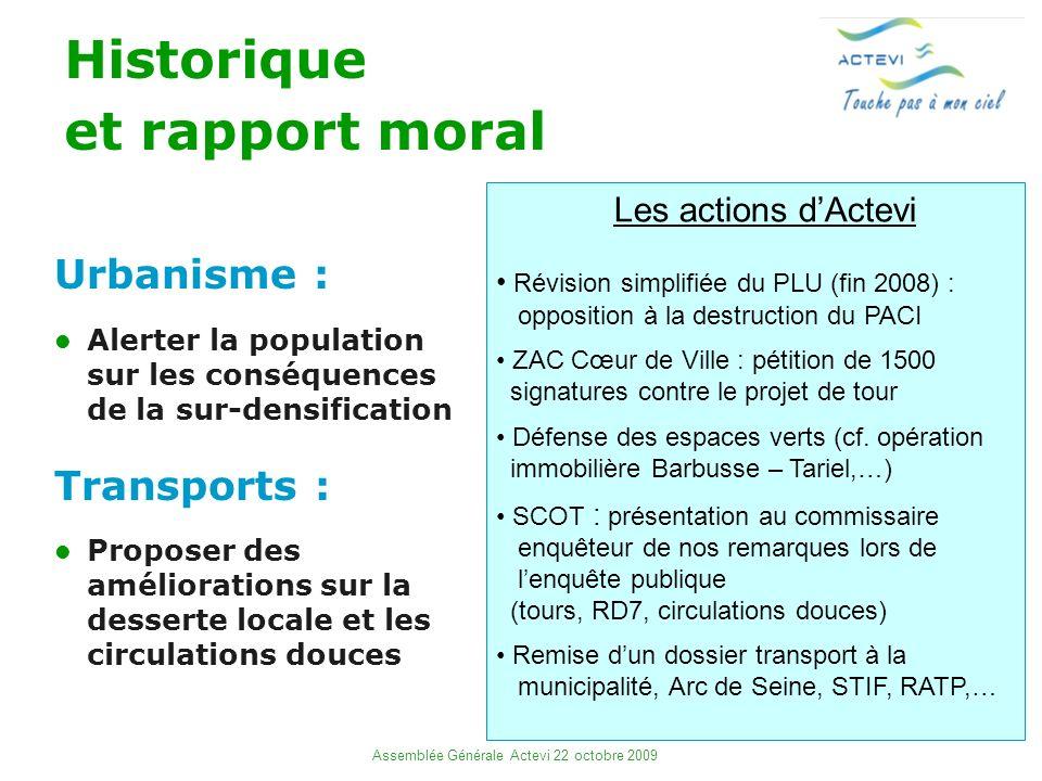 2 Assemblée Générale Actevi 22 octobre 2009 Historique et rapport moral Urbanisme : Alerter la population sur les conséquences de la sur-densification