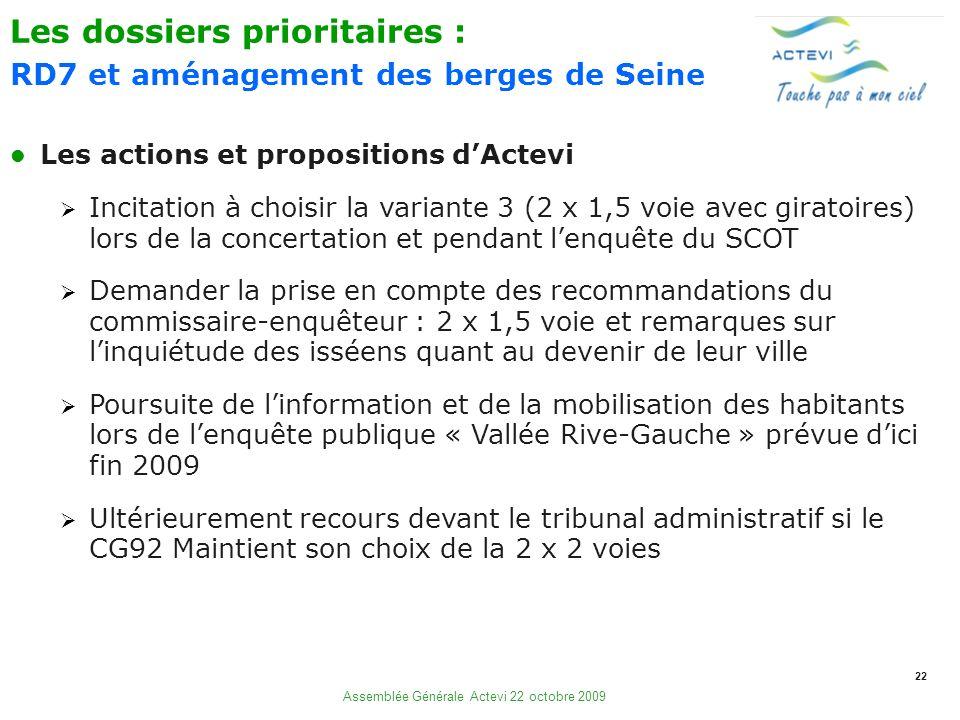 22 Assemblée Générale Actevi 22 octobre 2009 Les actions et propositions dActevi Incitation à choisir la variante 3 (2 x 1,5 voie avec giratoires) lor